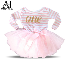 2017 Winter & Autumn Girl Dress Stripe One Two Print Kids Dresses For 1 Year Birthday Gift Party Newborn Toddler Girl Clothing