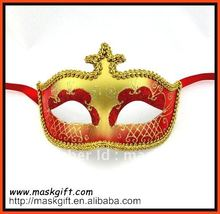 Free Shipping Venetian Style Red And Gold Masquerade Mask, Carnival mask