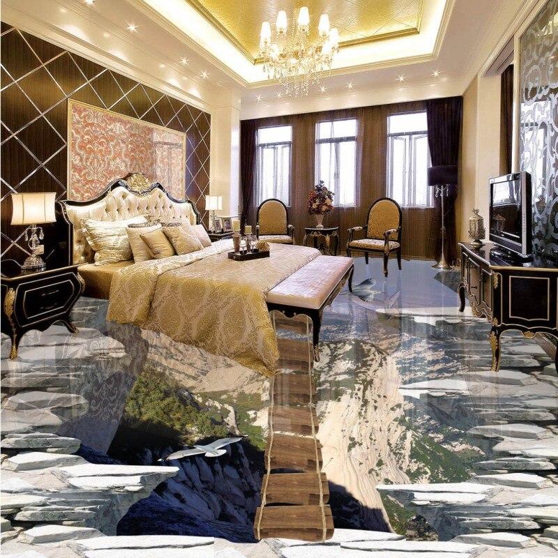Free shipping custom Wooden bridge aisle sky 3D floor painting thickened waterproof living room children room floor wallpaper<br>