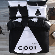 Factory Direct Personalized COOL Monogram Black & White Bedding Set (Duvet Cover Flat Sheet Pillow Shams) Single Queen King Size