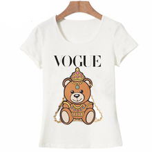 Vogue Teddy bear T-shirts Women Summer Tops Tees Print Animal T shirt female o-neck short sleeve Fashion Tshirts(China)