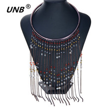 2016 New Bohemian Necklaces Design Fantastic Elegant Colorful Beads Long Tassel Bib Collar Necklace Magazine Model Jewelry