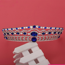 Gold Plated Luxury Sparking Blue Stone Full Crystal Prom King And Queen Royal Crowns Rhinestone Pageant Wedding Bridal Tiaras