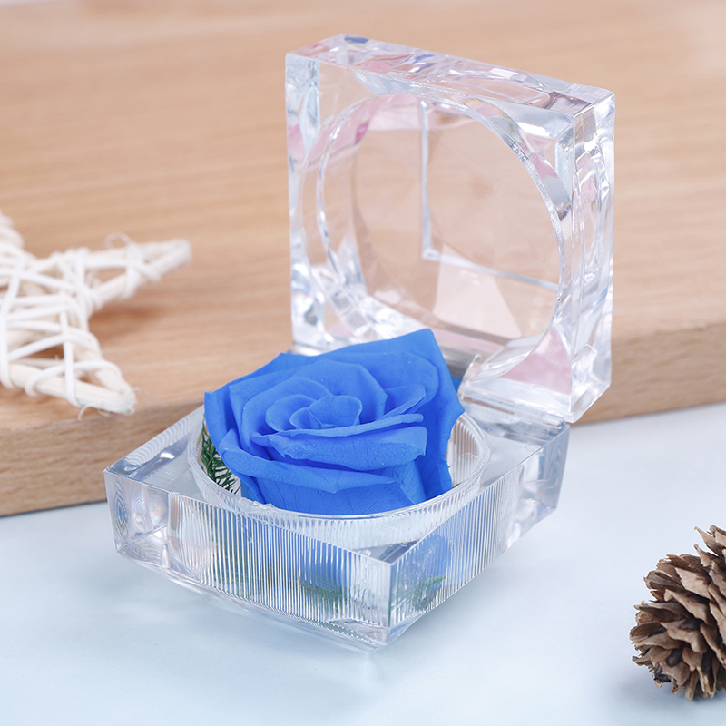 Flower Rose Ring Box Immortal Preserved Fresh Wedding Creative Gift Box Fashion Valentines Engagement Jewelry Gift Packing Box