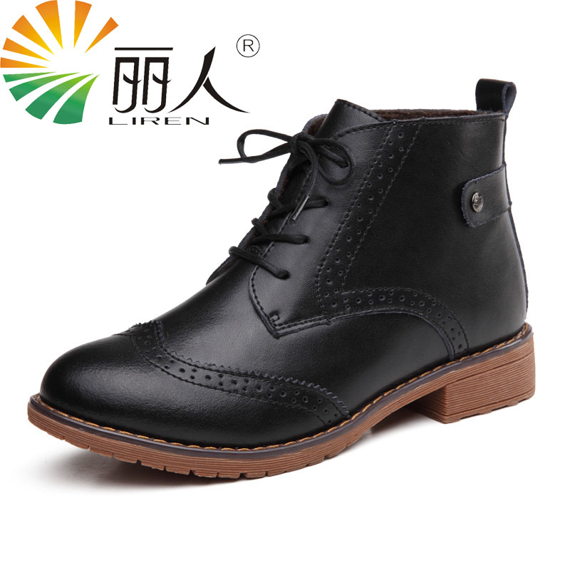 LIREN Woman Fashion PU Leather Motorcycle Ankle Boots Female Round Toe Low Heels Platform Comfortable Spring Autumn Shoes Black<br>