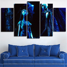 5Piece Wall Art Calligraphy Painting Nightmare Before Christmas Canvas Prints Picture For Living Room Movie Posters Home Decor