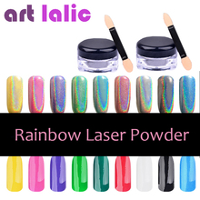 New 1g/Box Rainbow Shinning Mirror Nail Glitter Powder Ultrafine Holographic Nails Dust Laser Gradient Holo Nails Pigment
