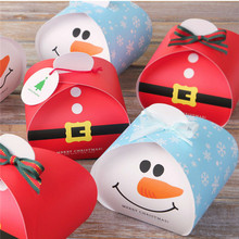 Christmas Packing Box Santa Claus Snowman Gift Box Trumpet Biscuits Candy Boxes Christmas Eve Apple Box Party Supplies 10pcs/lot