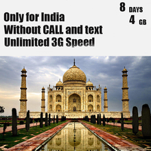 India Sim Card 8 Days Plan 4 GB Data 3G Speed Without Call Mobile Phone Sim Card 3 IN 1 Travel Sim Card Only for India(China)