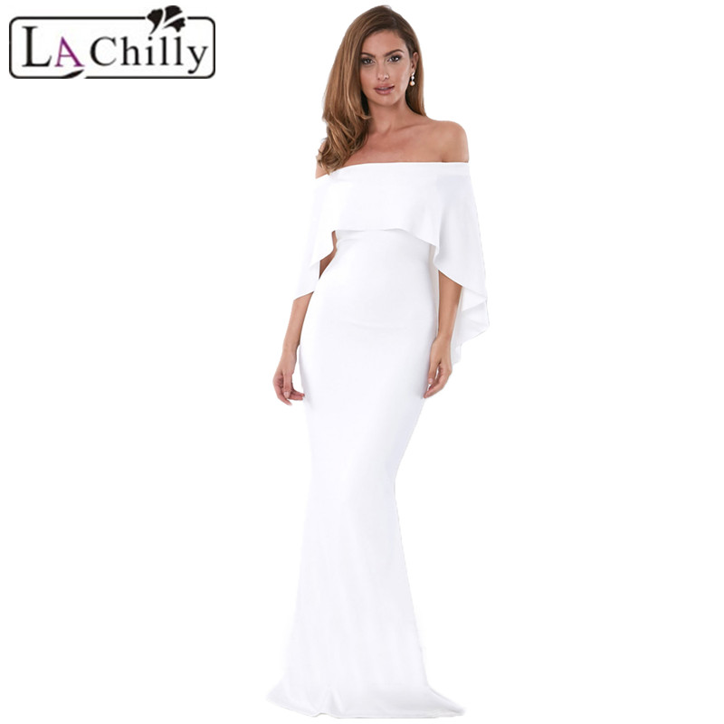 White-Off-Shoulder-Poncho-Gown-Mermaid-Dress-LC610235-1-28299