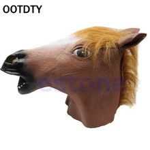 OOTDTY Funny Horse Head Mask Animal Costume n Toys Party Halloween Woman Man Fool's Day Fancy Dress Masquerade