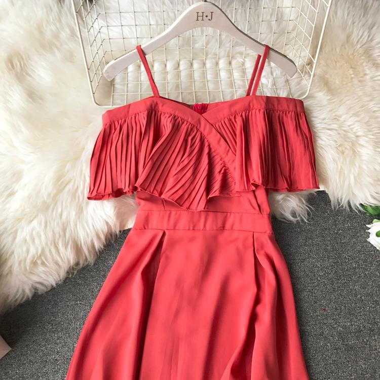 2019 Spring Women Chiffon Pleated Braces Sling Spaghetti Strap Goffer Long Dress Ladies Ruffles Empire Drapped Swing Slip Dress 167