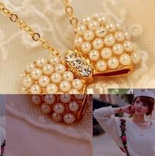 Free shipping hot New Design Fashion High quality Imitation Pearl bow pendant necklace Statement jewelry for women C478