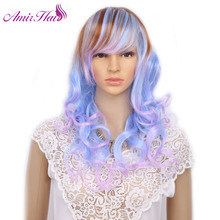Amir Blue Ombre Light Pink Brown Medium Length Hairstyle Girl Cosplay Costume Wig For Halloween Day and Night Bar(China)
