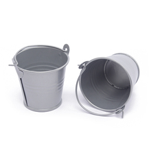 10Pcs/Lot Cute Deep Gray Mini Metal Buckets For Wedding Birthday Party Souvenirs Gift Event &Party Supplies(China)