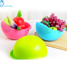 OnnPnnQ 1pc Super practical Creative Plastic wash rice Colander Strainer Sieve bright kitchen plastic drain vegatable basket