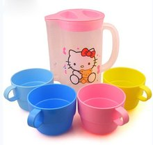 (5 Sets/Lot) Kawaii 4 Cups+1 Water Bottle 5 Piece Set Hello Kitty Beer Coffee Cup Share Set Drink Mug Set