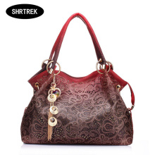 SHRTREK Women printing handbag bags pu leather women messenger bags hollow out ladies tote bag diamond pendant shoulder hand bag