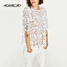 MOARCHO Elegant floral lace blouse shirt Women white short sleeve  blouse spring and summer hollow out casual brand tops blusas