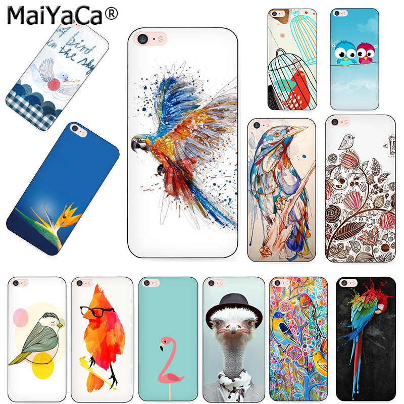 MaiYaCa wings bird animal Black Soft TPU silicone Phone accessories Case cover iPhone 5s 6s 7 plus 8 8plus X case