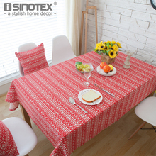 Christmas Tree and Elk Printed Tablecloth Red and White Colors Festival Decor Table Cover Manteles Para Mesa Table Cloth Nappe(China)