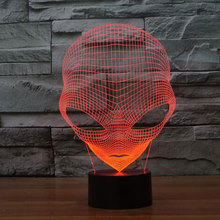 Unique 3D Special Alien Shape LED Table Lamp with USB Power 3D Hologram Illusion Pop-eyed Alien Lamp Acrylic Night Lamp(China)