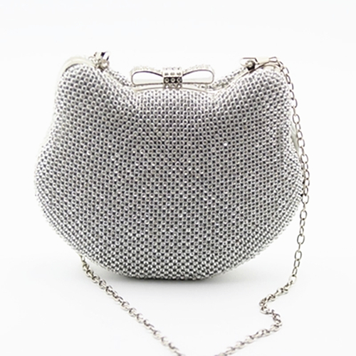 Luxury Diamond Evening Bags cartoon lovely cat Classic Rhinestone Day Clutch For women Recommend ladies handbags 3 colors<br>