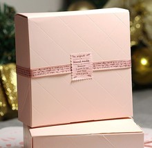 30PCS 12*12*4.2cm Small Pink Paper Boxes Emballage Wedding Favors and Gifts Box For Guests Cookie & Candy Packing Box Food Box