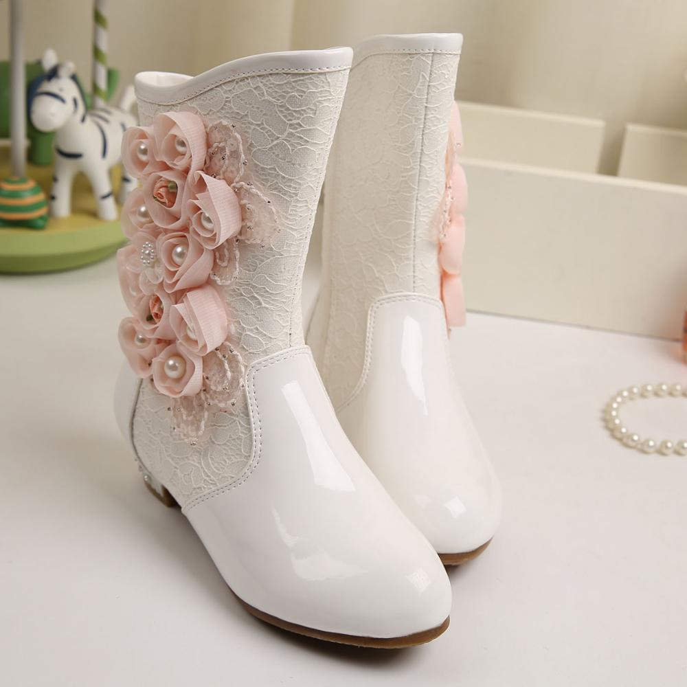 WENDYWU Girls winter new floral Princess boots snow flower boots warm shoes brand children's wholesale manufacturers(China (Mainland))