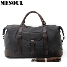MESOUL Men Travel Bags hand luggage Canvas Duffle Bag Overnight Tote Youth Vintage Military Large Capacity Carry On Weekend Bag(China)