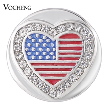 Vocheng Ginger Snap Heart USA with Crystal Button Charms 18mm Painted Design Vn-1740