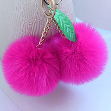 Korean Fashion Double Fluffy Pompom Balls Keychain Candy Color Cherry Keychain For Bag Car Women Artificial Rabbit Fur Key Chain(China)