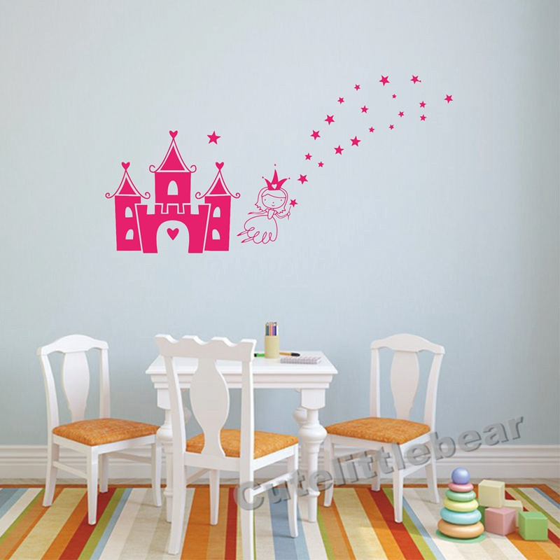 Princess Castle Removable DIY PVC Cartoon Wall Stickers Baby Nursery Bedroom Decorations