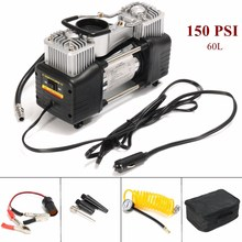 Portable Double Cyclider 12V Auto Tire Inflator 150PSI Car Air Pump Auto Compressor Heavy-Duty Tyre 30Amp Set(China)