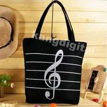 High Quality Casual Canvas Musical Note Tote Shopping Shoulder Bag Girl/Boy Unisex Handbag Satchel Simple Zipper Black White