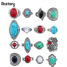 5pcs Color Design Mixed Stone Rings Wholesale Lot Vintage Look Antique Silver Plated Fashon Jewlry TR179