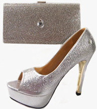 Silver party Italian shoes and bags to match women dress JA111 (2),Platform thin HIgh heel shoe and matching handbag,Size38-42