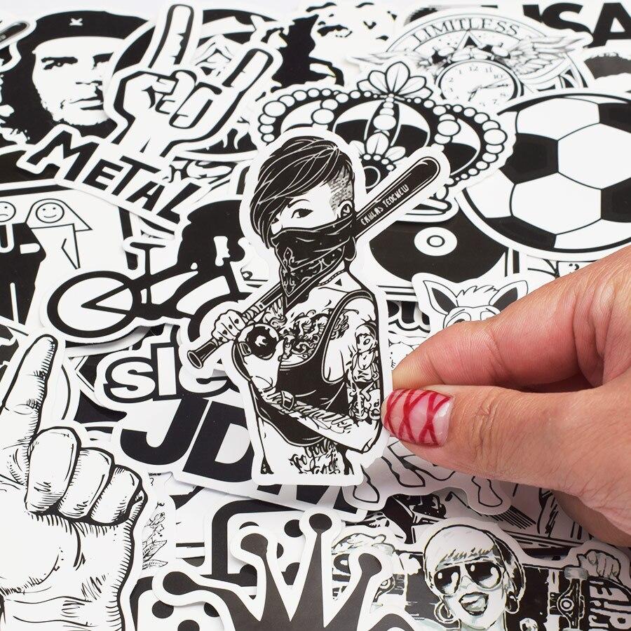 50pcs Random Black and White Sticker Graffiti Punk JDM Cool Stickers for Kids Sticker on Laptop Skateboard Suitcase Bike Helmet