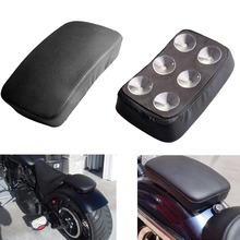 (Ship from US )Black leather motorcycle rear passenger Pillion Pad Seat 6 Suction Cup For Harley Dyna Sportster Softail Touring(China)