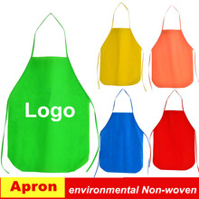 PP Non woven kitchen aprons Adult Disposable Aprons Printed Logo Cooking Apron custom logo eco Environmental Fabrics Aprons(China)