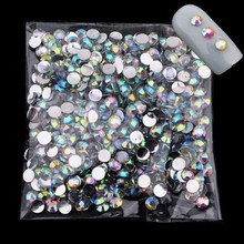 2~4mm Clear Crystal AB Acrylic Nail Supplies 3D Strass Nail Art Charms Deco Ongle Nail Jewelry Rhinestones for Nails ZJ1169