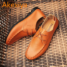 Akexiya 2017 New Autumn Hole Shoes Comfortable Peas Shoes Casual Shoes Men's Fashion Breathable Leather Shoes SIZE 39-44