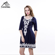 women lace dress 2016 Casual embroidery Vestidos people Party Dresses V Collar half sleeve sexy night club vestidos femininos