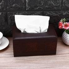 Faux Leather Rectangle Square Tissue Box Retro Dustproof Desktop Paper Napkin Towel Holder Dispenser Cover Cases(China)
