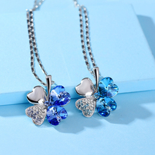 free shipping charm women accessories Austrian Crystal lover 4 four Leaf Leaves Clover necklace pendant fashion jewelryB14(China)
