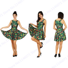 Christmas Tree Colorful Candy Balloon Ladies Skater Dress Reversible Sundress Sleeveless Pleated Dress A-Line Tennis Dress Green