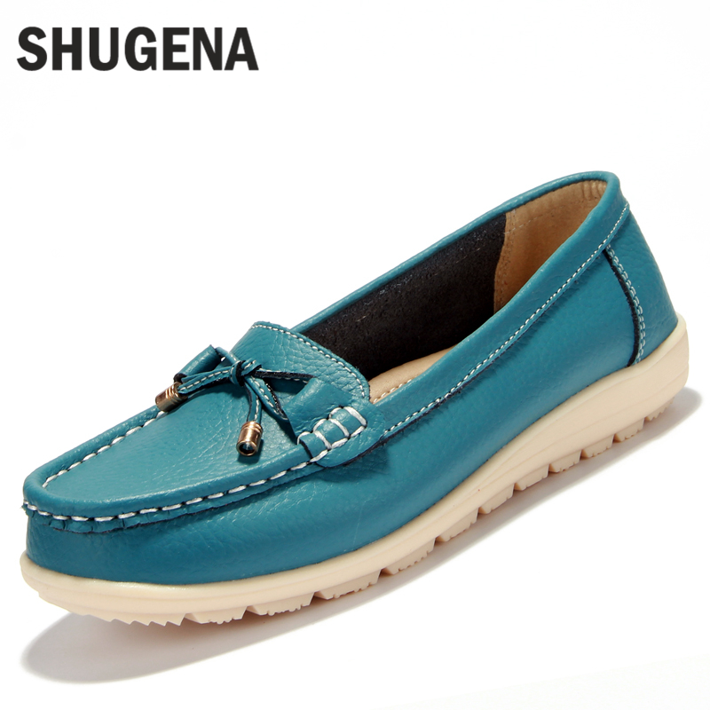 2016 new Summer genuine leather women flats shoes female casual flat women loafers shoes slips leather black flat womens shoes<br>