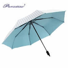 2017 Small Fresh Woman Rain Umbrella Stripe Sunny And Rainy Umbrella Female Windproof Sunshade Umbrella Children Parasol