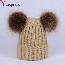 Cute Winter Women Crochet Knitted Hat Caps Faux Fur Ball Pompom Beanies Hats Soft Fluffy Solid Color Beanies Cap(China)