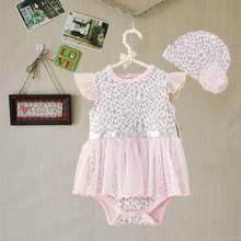 In Stock! Baby Leopard Clothing Sets, Girls flower hat + lace bodysuit 2pcs clothes pink cute sets a75